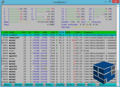 نمونه خروجی دستور htop در لینوکس