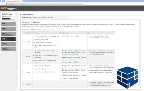 انتخاب پکیج دی ان اس سرور در صفحه نصب سی پنل