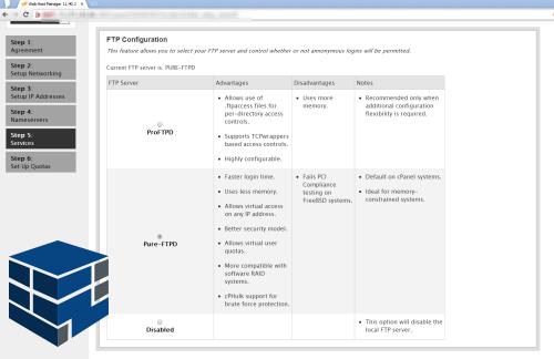 انتخاب ftp سرور در صفحه نصب سی پنل whm